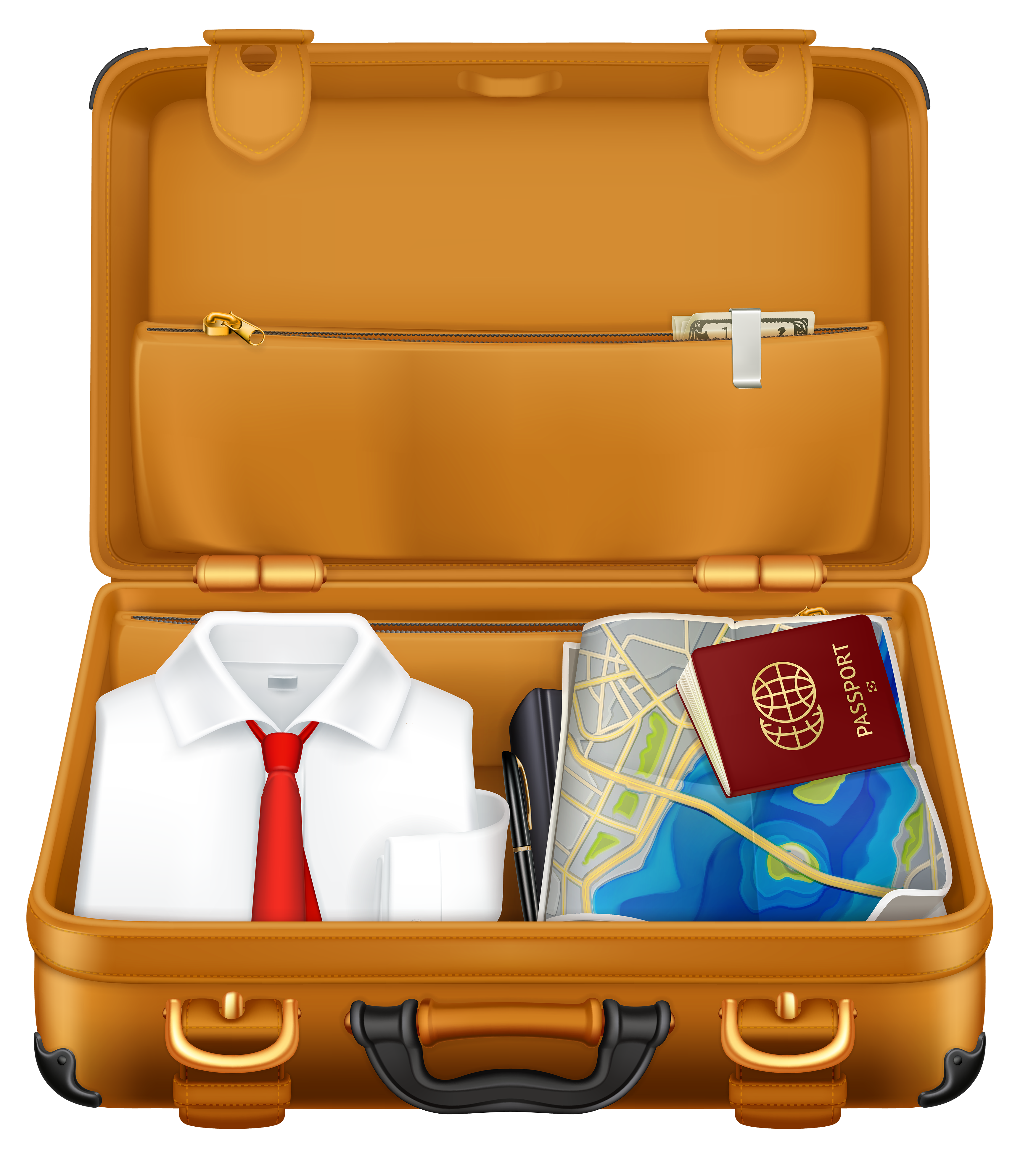 3500x3913 Brown Suitcase With Clothes And Passport Clipart Image