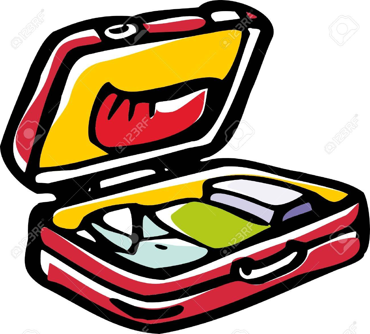 1300x1171 Stylized Illustration Of Open Suitcase With Clothes. Royalty Free
