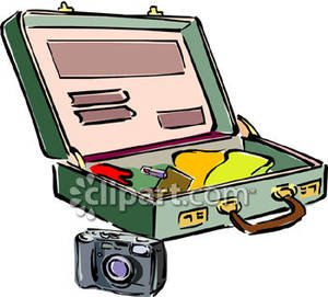 300x271 Suitcase With Clothing Clipart