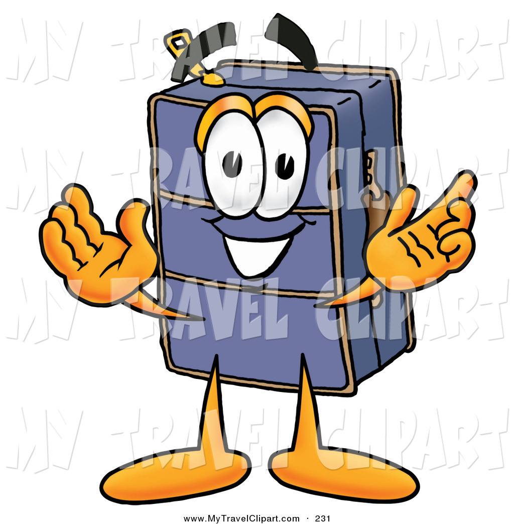 1024x1044 Clipart Of A Grinning Suitcase Cartoon Character With Welcoming