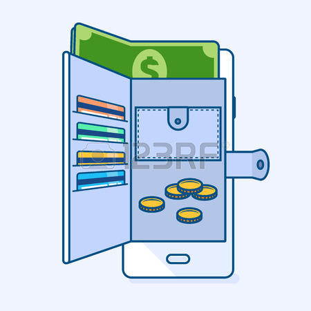 450x450 Vector Illustration Of Open Smartphone Mobile Wallet With Coins