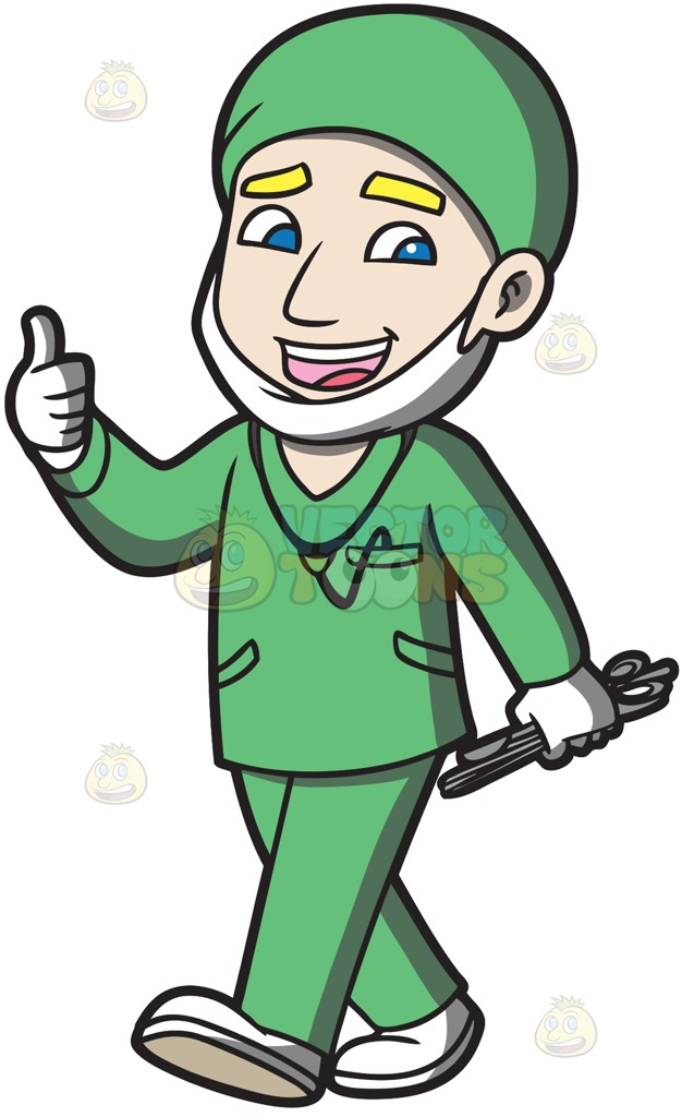 626x1024 A Surgeon Happily Finishes An Operation Cartoon Clipart