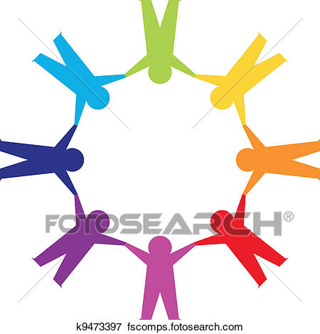 450x470 Clip Art Of Paper People In Circle Holding Hands K9473397