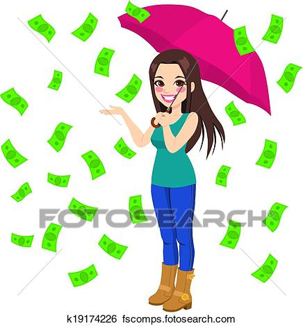 436x470 Clip Art Of Raining Money Bills K19174226