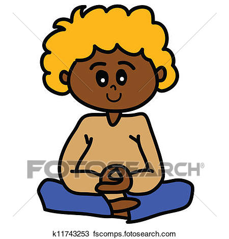 450x470 Clipart Of Cartoon Hand Drawn Meditation K11743253