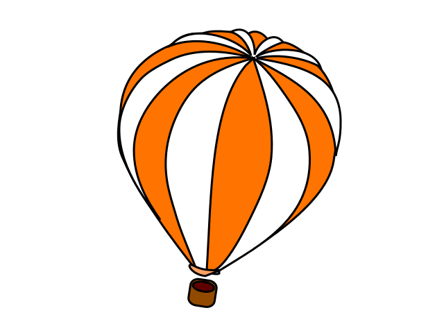 640x480 Hot Air Balloon Orange White Clip Art Download