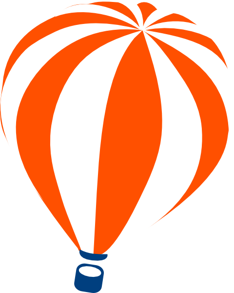 480x600 Orange Hot Air Balloon Clip Art