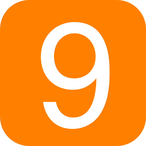 600x600 Orange, Rounded, Square With Number 9 Clip Art