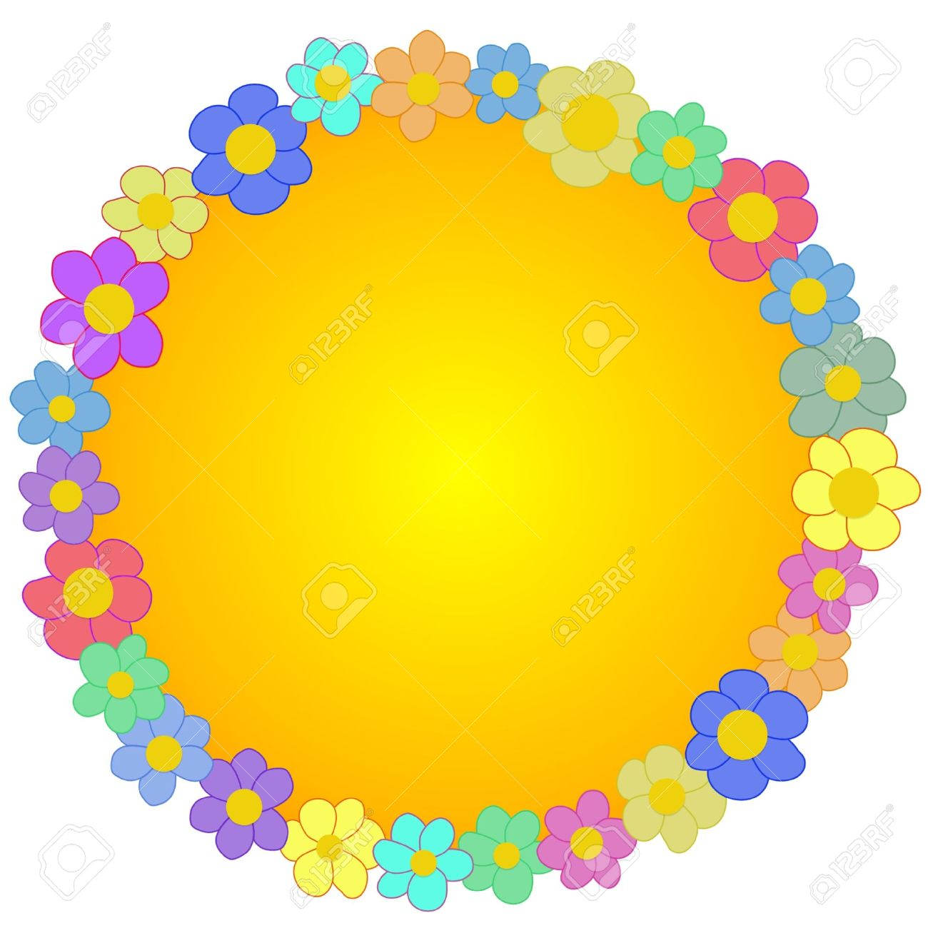 1300x1300 Orange Flower Clipart Round Flower