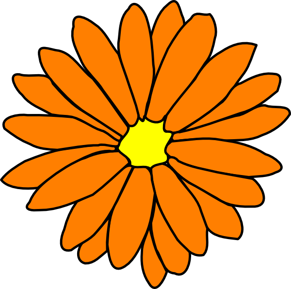 600x596 Orange Flower Clip Art