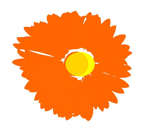 600x553 Blurry Orange Flower Clip Art