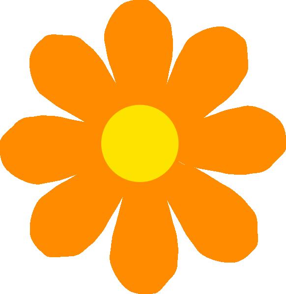 582x599 Bright Orange Flower Clip Art