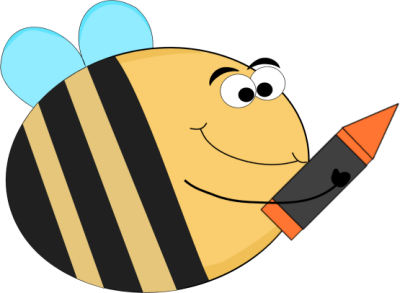 400x293 Funny Bee With An Orange Crayon Clip Art