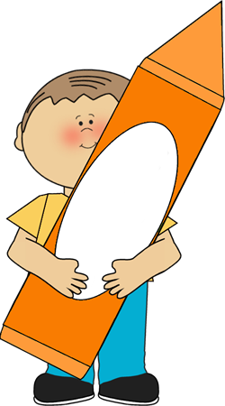 250x450 Boy With Orange Crayon Clip Art