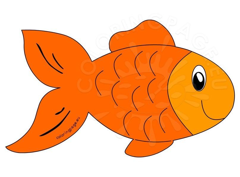 808x595 Cute Orange Fish Cartoon Coloring Page