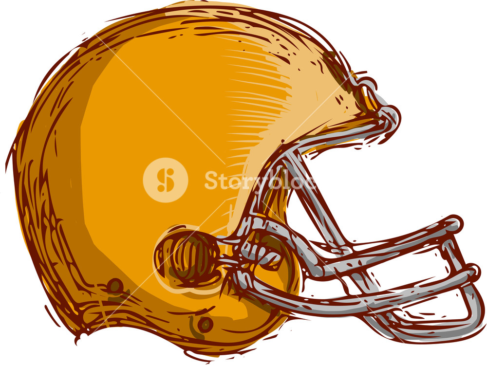 1000x750 Drawing Sketch Style Illustration Of An American Football Helmet