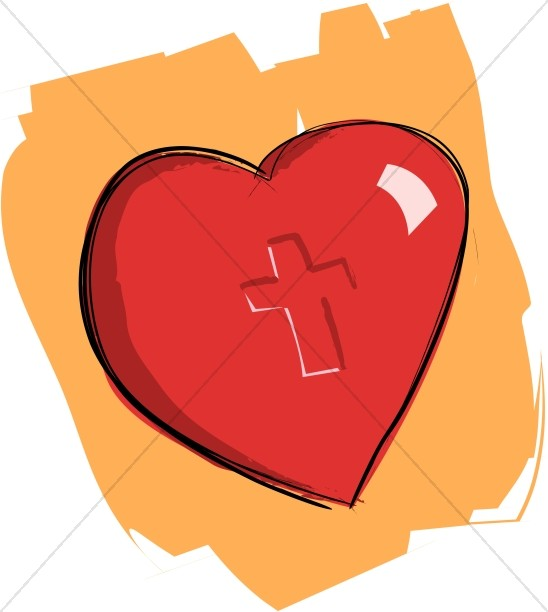 548x612 Heart Imprinted With Cross On Orange Christian Heart Clipart