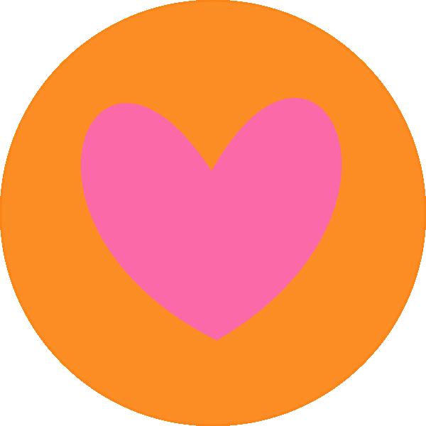 600x600 Heart In Circle Orange Clip Art