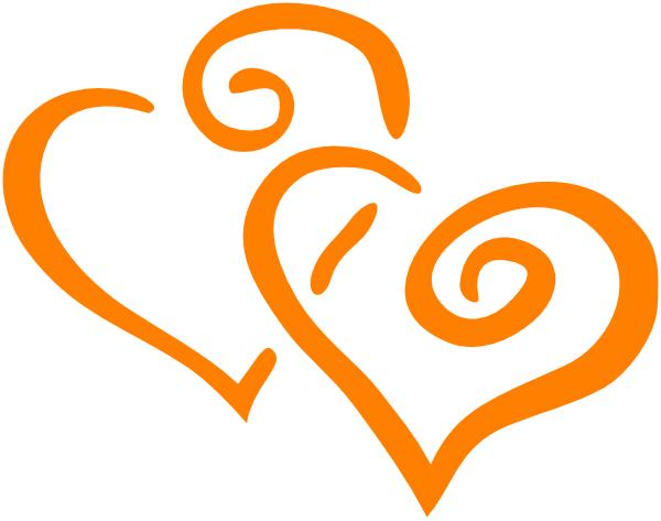 600x473 Orange Intertwined Hearts Clip Art