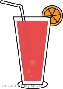 211x300 Clip Art Of A Juice Drink With An Orange Slice Garnish