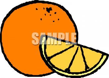 350x251 Whole Orange With A Wedge Of Orange