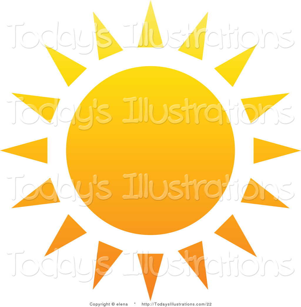 1024x1044 Vector Clipart Of A Hot Summer Sun With Yellow And Orange Triangle