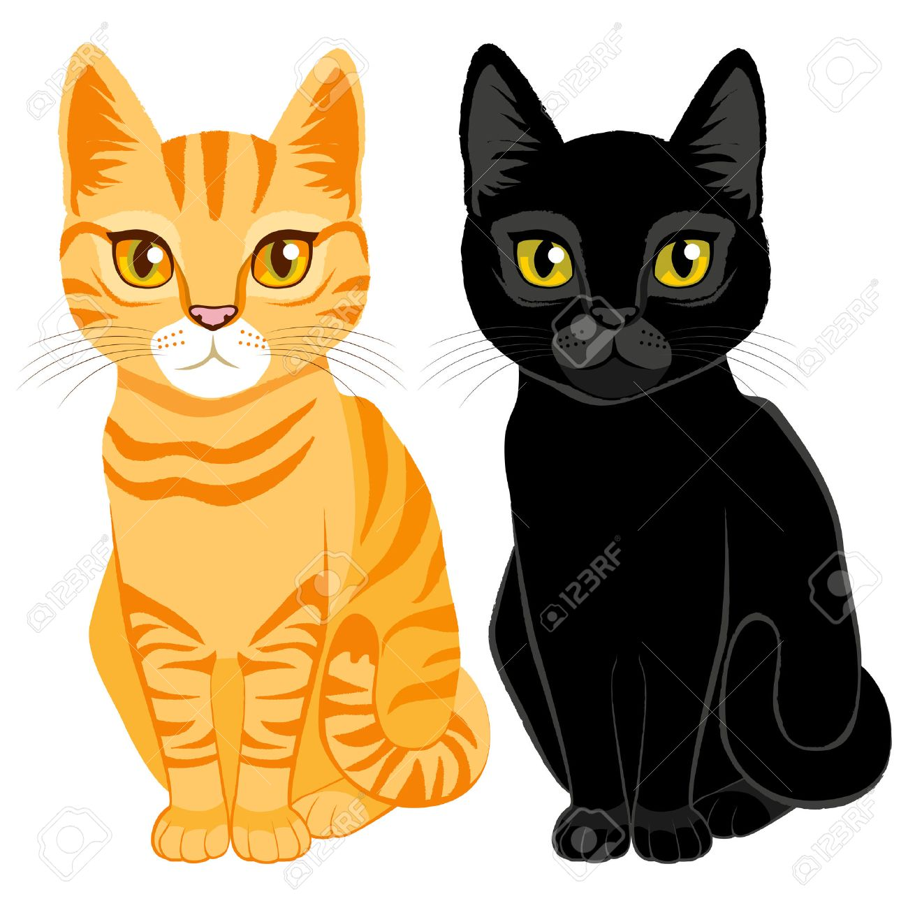 1300x1300 Cute Cats On Orange Tabby And Black Color With Orange And Yellow
