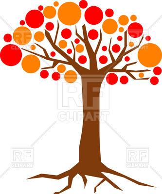 333x400 Cartoon Red And Orange Tree
