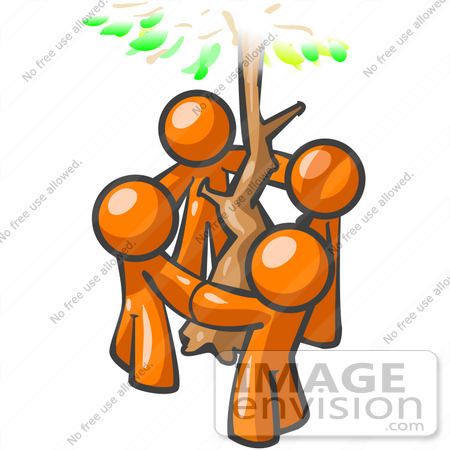 450x450 Clip Art Graphic Of Orange Guy Characters Holding Hands