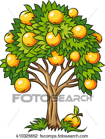355x470 Clipart Of Fruit Tree Isolated K10325652