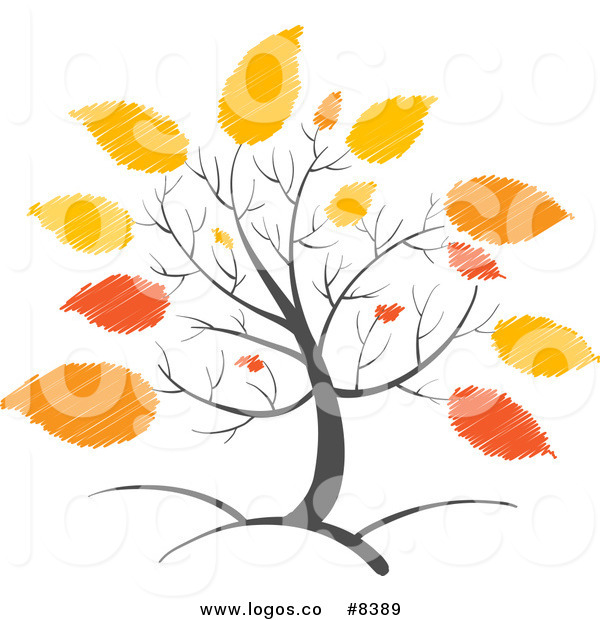 600x620 Royalty Free Clip Art Vector Logo Of A Tree With Scribbled Orange