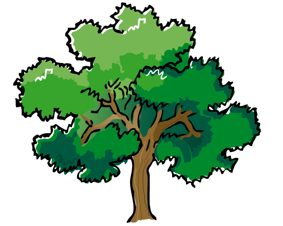 983x784 Cartoon Orange Tree