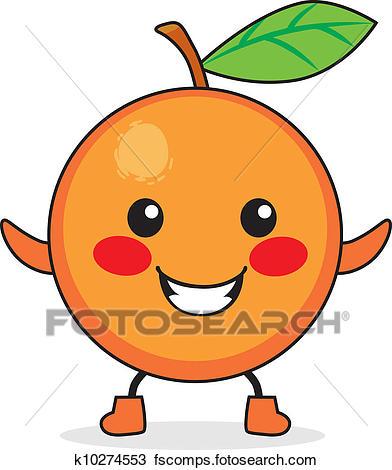 392x470 Clipart Of Orange Fruit Cartoon K10274553