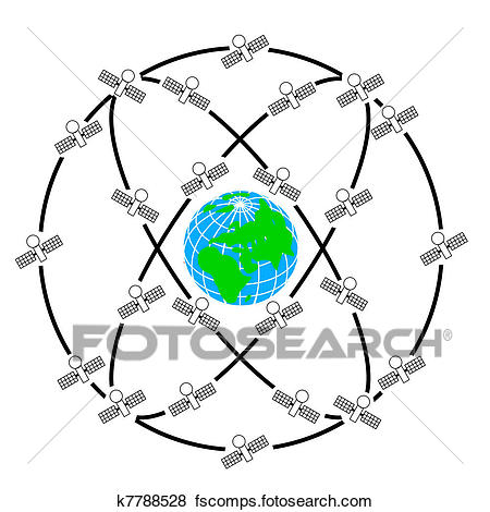 450x470 Clip Art Of Space Satellites In Eccentric Orbits Around The Earth