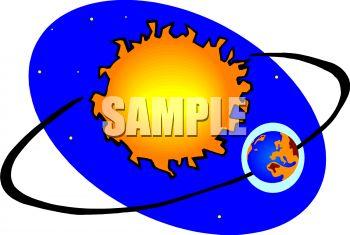 350x235 Earth Orbiting Sun Clipart