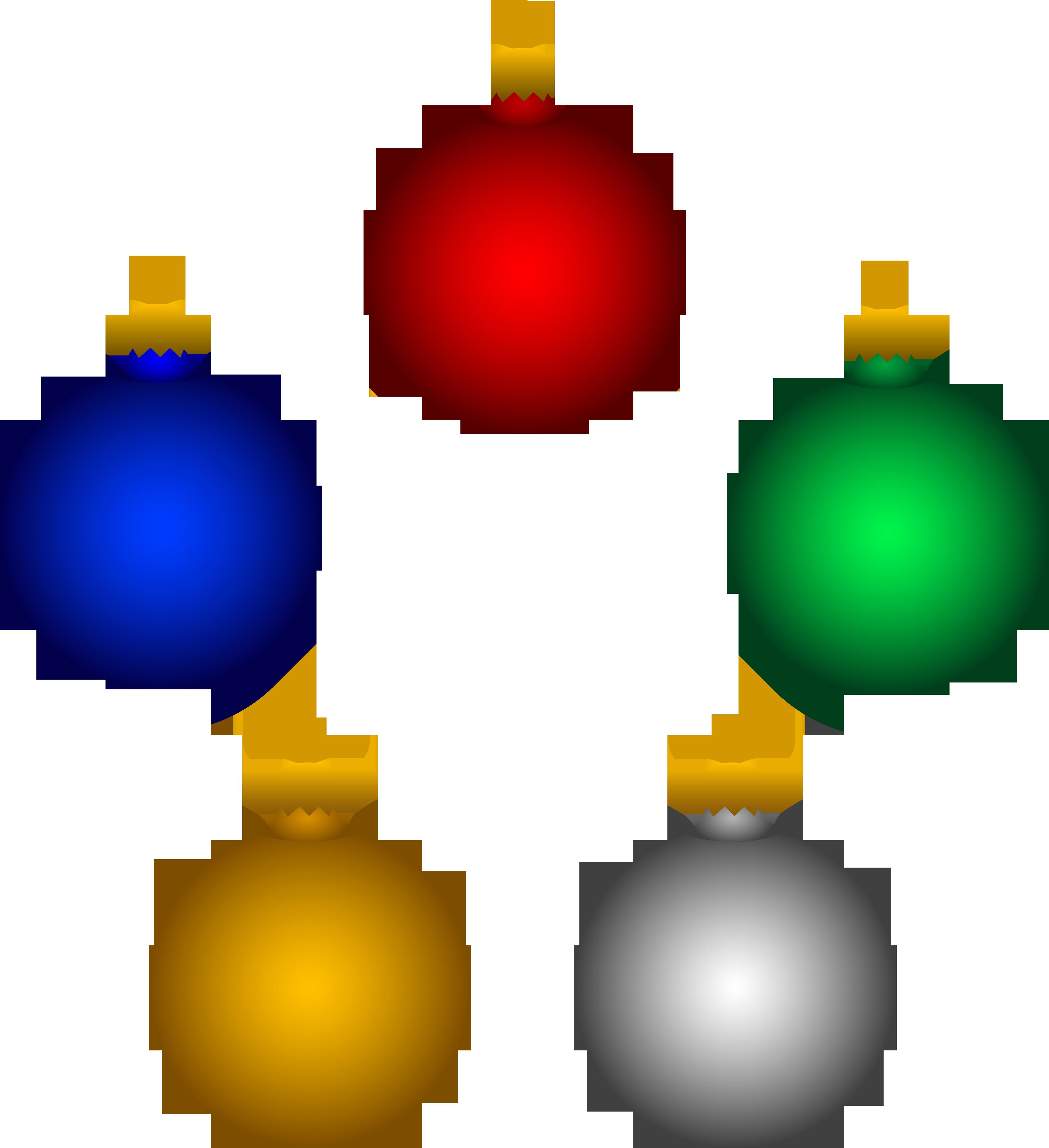 3659x4000 Five Shiny Christmas Tree Ornaments