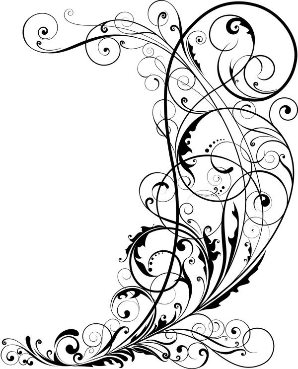 600x743 Corner Floral Ornaments Vector Illustration