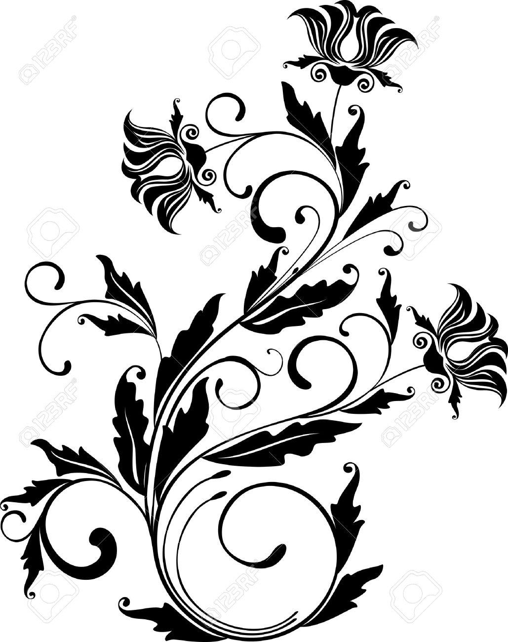 1029x1300 Monochrome Floral Ornament