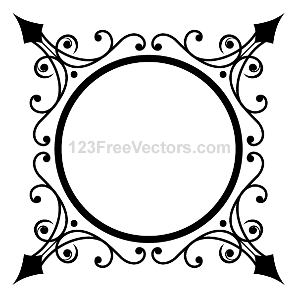 600x600 Vintage Gold Ornaments Frame Free Vector 123freevectors