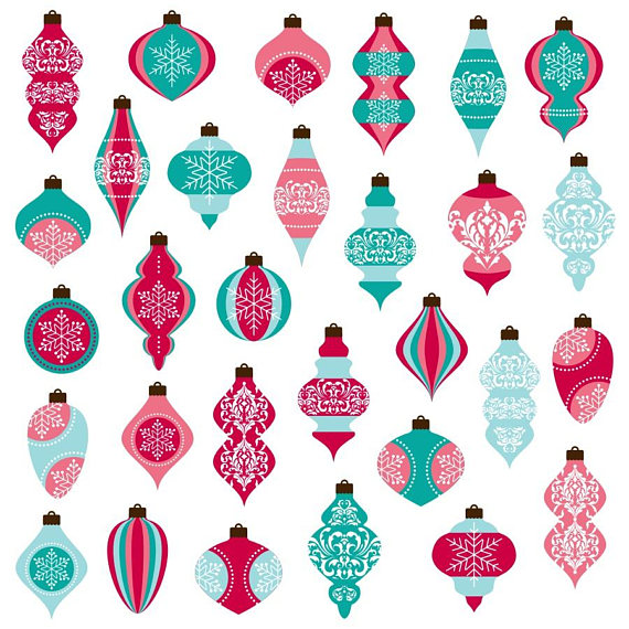 570x570 Christmas Ornaments Clipart Christmas Clipart Pink And Blue