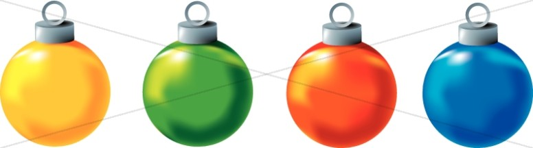 776x216 Four Colorful Christmas Ornaments Clipart Traditional Christmas