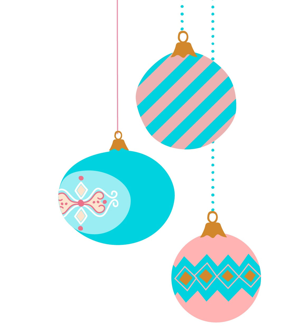 1155x1233 9 Vintage Christmas Ornament Clip Art Pastel Color Retro