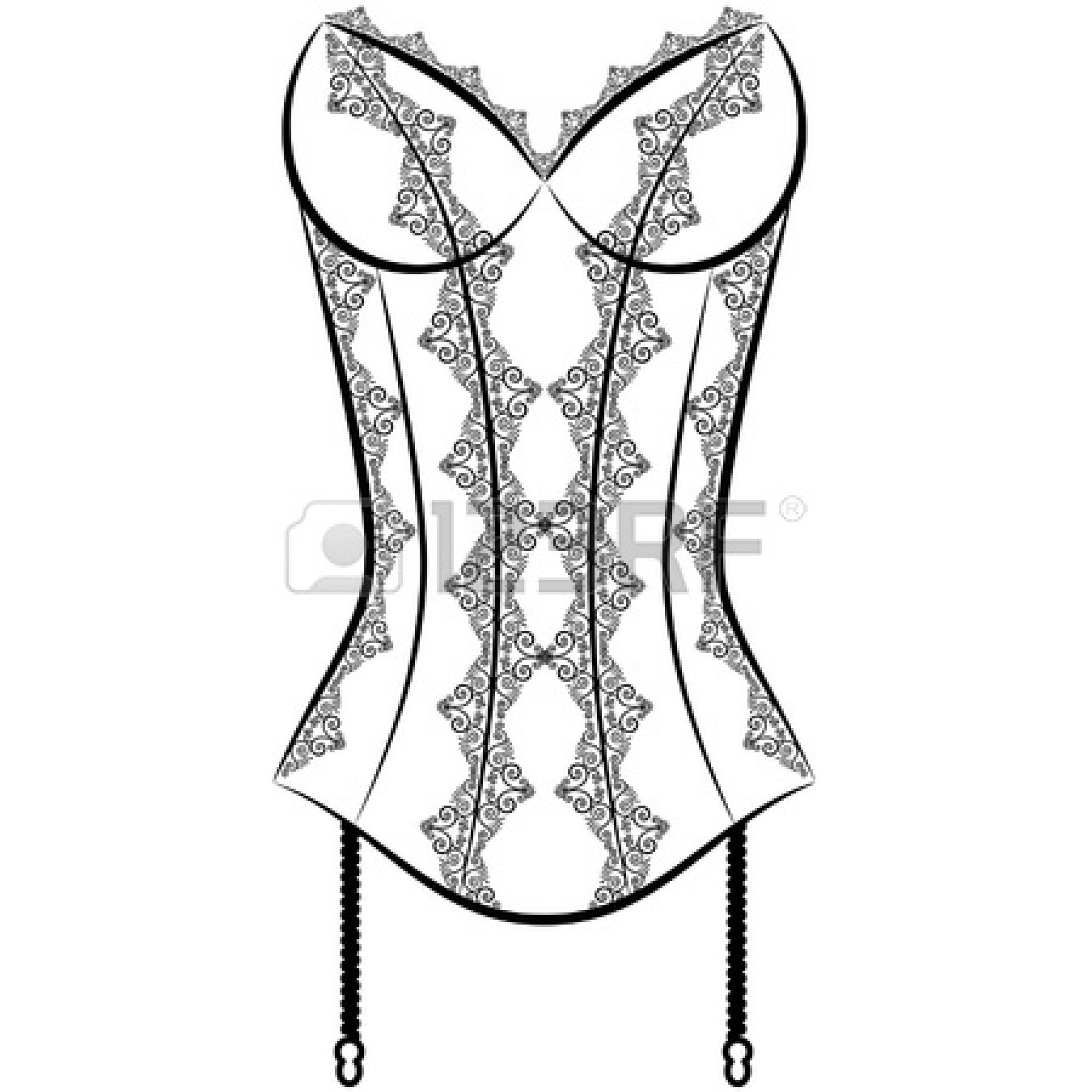 1350x1350 Underwear Clipart Black And White 12081072 Vintage Corset