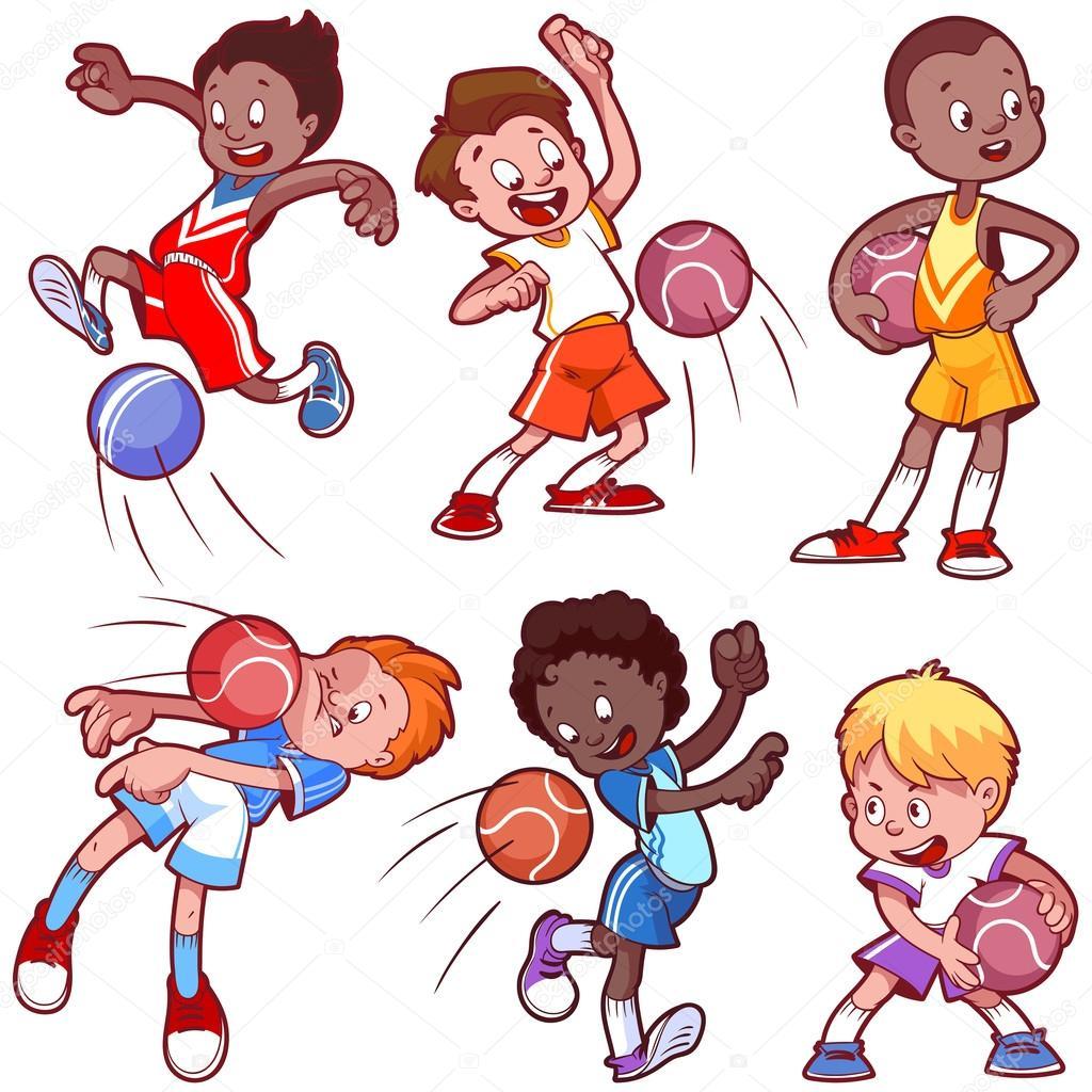 1024x1024 Cartoon Kids Playing Dodgeball. Vector Clip Art Illustration