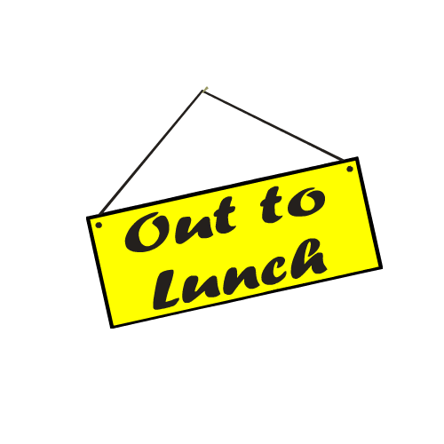 500x500 Out To Lunch Sign Clip Art Image