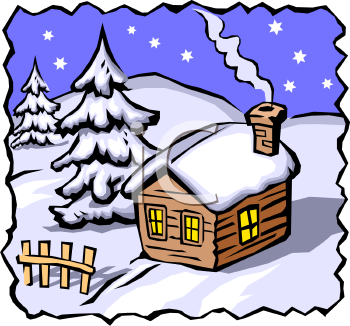 350x326 Lodge Clipart Winter Scene