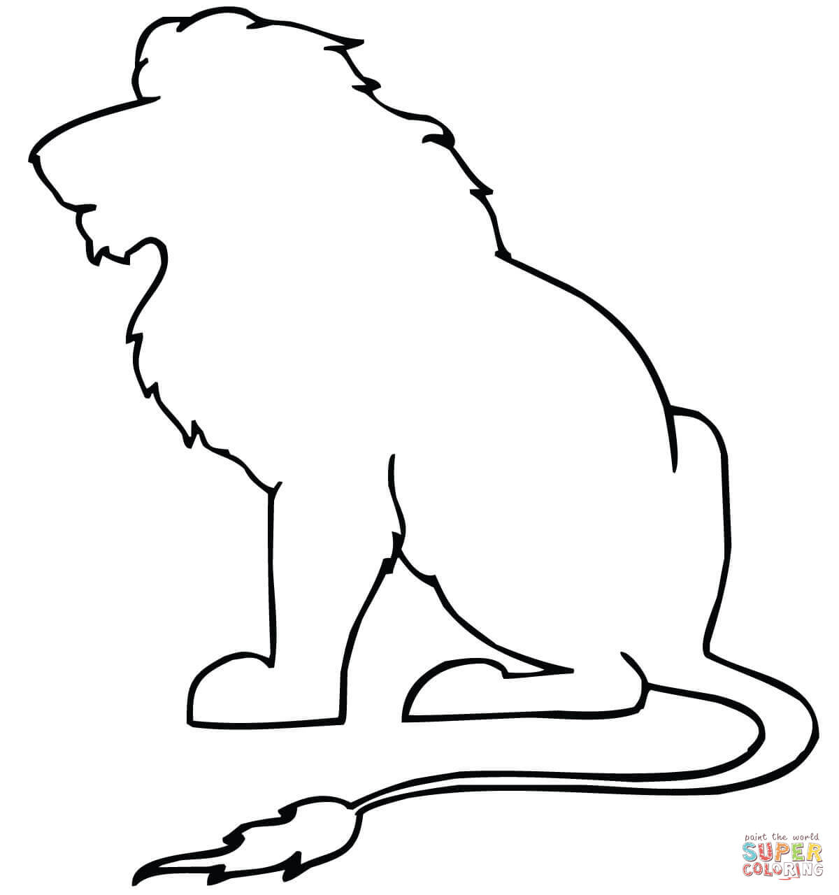 1200x1280 Sitting Lion Outline Coloring Page Free Printable Coloring Pages