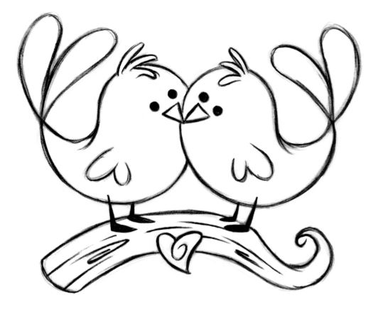 532x437 Coloring Pages Magnificent Drawing Of Lovebirds Drawn Lovebird 7