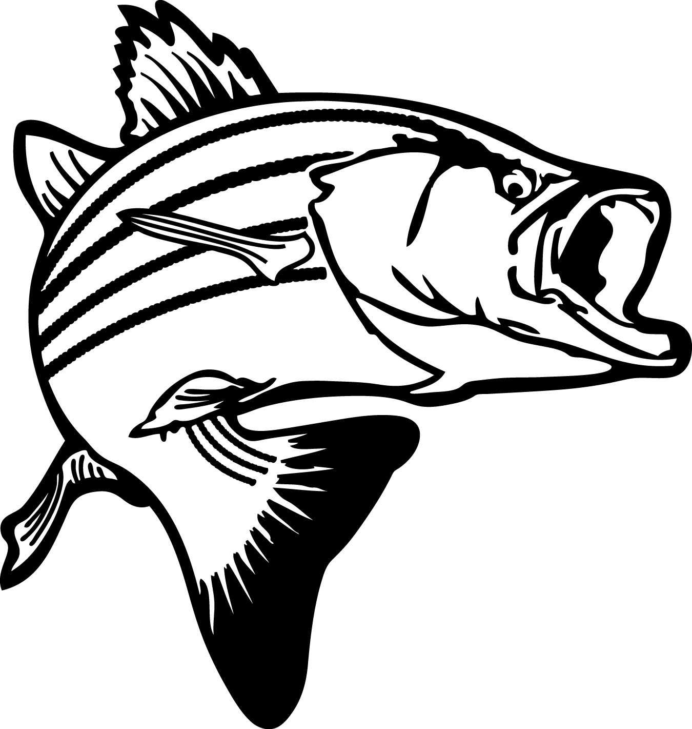 1350x1421 Best Bass Fish Outline