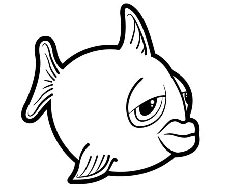 450x371 Drawn Fish Outline Drawing